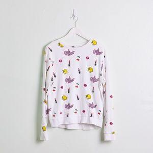 H&M White Graphic Crewneck Sweatshirt